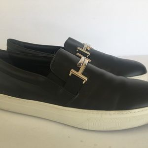 TODS Womans Black Leather DOUBLE~T Slip-on Shoe 11